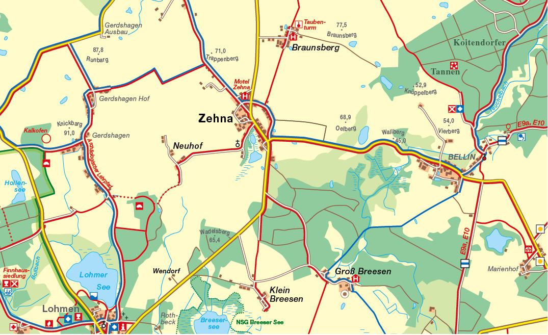 Güstrow Karte.Amt Güstrow Land Karte Zehna